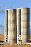 Twin farm silos Royalty Free Stock Images