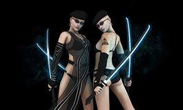 Twin female warriors Stock Photography