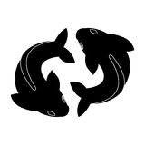 Twin fish. Simple twin fish as pisces icon vector Stock Images