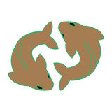Twin fish. Simple twin fish as pisces icon vector Royalty Free Stock Image
