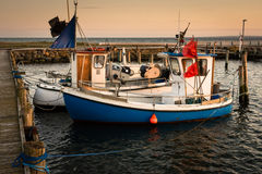 Twin fishing boats - golden evening Royalty Free Stock Image