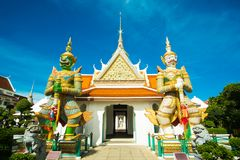Twin giants at Wat A run. Twin giants iconic in Wat Arun in Bangkok,Thailand Royalty Free Stock Image