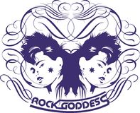 Twin girls. Hair style and rock music, girls graphic design royalty free illustration