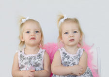 Twin Girls. Twin Little Girls Looking Serious royalty free stock images