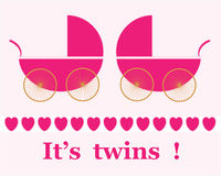 Twin Girls Arrival Announcement Card Stock Images