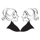 Twin Girls Black and White Line Art Style Royalty Free Stock Photography
