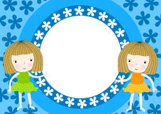 Twin girls frame party invitation Royalty Free Stock Images