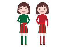 Cute little Twin Girls Vector Isolated on white background. Flat stock illustration
