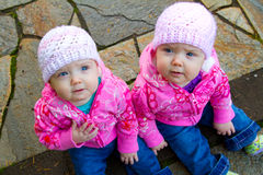Twin Girls in Pink Stock Photos