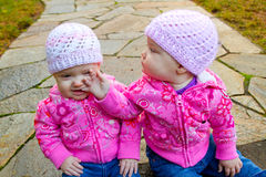 Twin Girls in Pink Stock Images