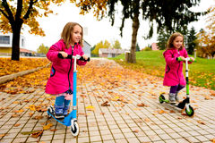 Twin girls in pink coat riding scooter on maple leaves. Twin girls in pink coat are riding scooter on maple leaves. Active children in sport pursuit is Royalty Free Stock Photo