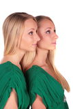 Twin girls sideview Royalty Free Stock Photos