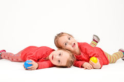 Twin Girls on white Background Royalty Free Stock Image