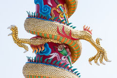 Twin golden claw. Of the dragon sculpture in the Chinese temple royalty free stock image