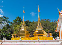 Twin golden pagoda at Wat Phra That Doi Tung, Thailand Royalty Free Stock Image