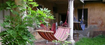 Twin hammocks royalty free stock photography