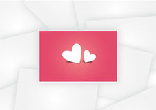 Twin hearts in Pink paper photo on white paper photo background valentine Royalty Free Stock Image