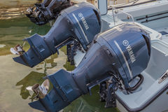 Twin 300 HP Yamaha Four Stroke Outboard Motors Royalty Free Stock Image