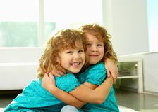 Twin hug. Portrait of cheerful twin sisters hugging and smiling at cam stock photos