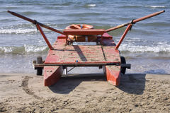 Twin-hulled rowboat. Photo of a twin-hulled rowboat on the beach Royalty Free Stock Photography