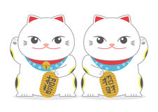 Twin Japanese Lucky Cat; Maneki Neko Stock Photo