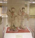 Twin Japanese Marble Statuettes on display in a Museum Stock Photography