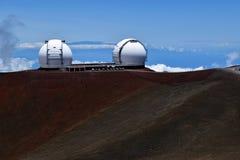 The twin Keck telescopes on Mauna Kea, Hawaii Royalty Free Stock Photos