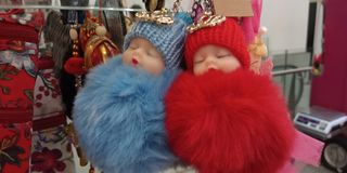 Twin kids toy royalty free stock image