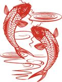 Twin Koi. Asian style illustration of twin fish swimming Stock Illustration