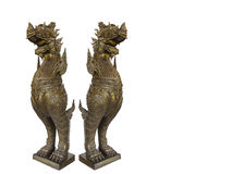 Twin Kraison Rajasri Wood Statue on White Background with Clippi Royalty Free Stock Photography