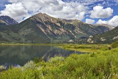Twin Lakes, Colorado. View from near the edge of Twin Lakes reservoir, located between Independence Pass and Leadville, Colorado Stock Photos