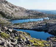 Twin Lakes in Desolation Wilderness, California. Twin Lakes are incredibly scenic mountain lakes, surrounded by granite mountains, in the Desolation Wilderness royalty free stock photo