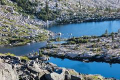 Twin Lakes in Desolation Wilderness, Northern California. Twin Lakes are incredibly scenic mountain lakes, surrounded by granite mountains, in the Desolation stock images