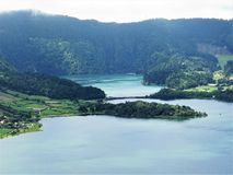 Twin lakes at Sete Cidades, Sao Miguel, The Azores Stock Photo