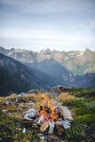 Twin lakes. A shot of a fire on the edge of a cliff in North cascades national park Stock Photo