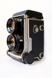 Twin lens camera. A twin lens reflex 6x6 camera isolated with white Royalty Free Stock Photos
