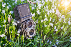 Twin lens camera Stock Images