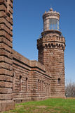 Twin Lights: North Tower, Anged View of Front. Twin Lights North Tower- an old stone lighthouse, angled view of front Royalty Free Stock Image