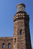 Twin Lights: North Tower, Front View. Twin Lights North Tower- an old stone lighthouse, front view Stock Photo