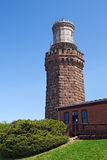 Twin Lights: North Tower, Rear View. Twin Lights North Tower- an old stone lighthouse, rear view Royalty Free Stock Photos