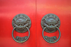 Twin lion head door knocker Royalty Free Stock Image