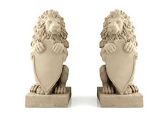 Twin lion statue with blank signboard. 3d stucco lion statue with signboard Royalty Free Stock Photos