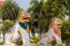 Twin lion statues. In front of the church stock photo
