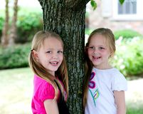 Twin little girls hugging a tree stock images