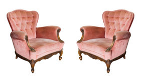 Twin Luxury vintage arms chair isolated Stock Photography