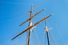 Twin masts of a sailing ship in port royalty free stock photo