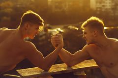 Twin men bodybuilders arm wrestling. Twin men or bodybuilders, handsome, young, male athletes with sexy, muscular torsos with six packs, abs, biceps, triceps arm royalty free stock photography