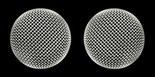Twin microphones. Two large identical recording microphones on black Stock Photography