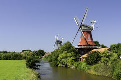 Twin Mills Greetsiel Royalty Free Stock Photos