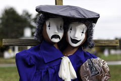 The Twin Mimes. A twin mimes scarecrow on halloween fest Royalty Free Stock Photography